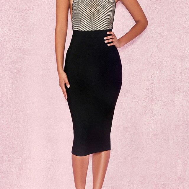 ih Women High Waist Suede Bodycon Midi Skirts Faux Leather Zipper Pencil Skirt Office Lady Elegant Wear 2019 Spring New Fashion 4