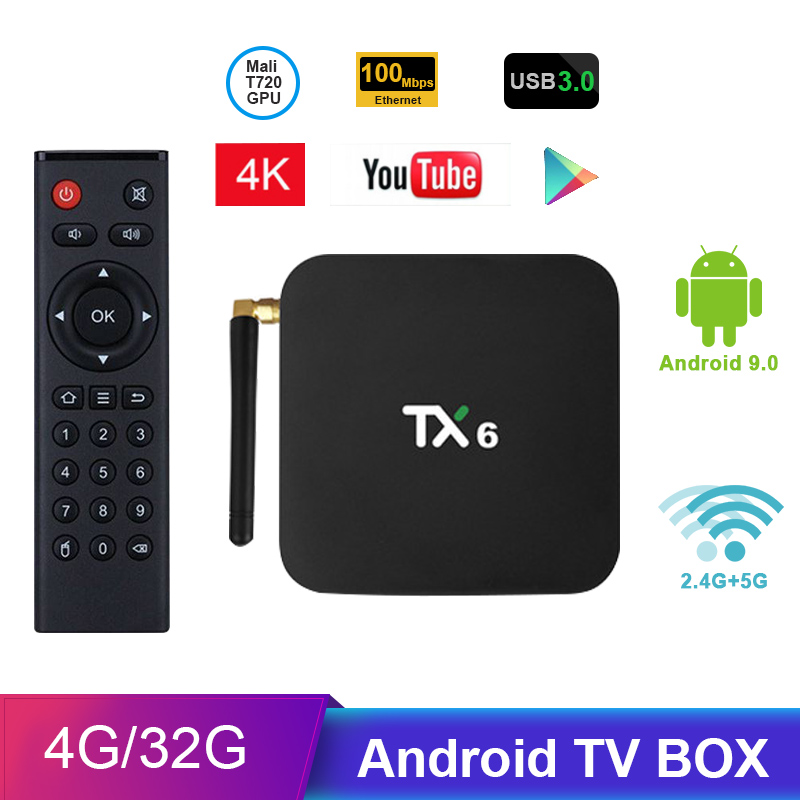 Tanix TX6 Android TV Box H6 4GB DDR3 32GB EMMC 2 4GHz 5GHz WiFi BT4 1  Support 4K H 265 Bluetooth 4 0 WIFI Android 7 0 TV BOX