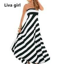 Liva Girl Sexy Off Shoulder Summer Maxi Dress Striped Women Tunic Casual Long Party Boho Dress Runway Hippie Chic Clothing ZWX1