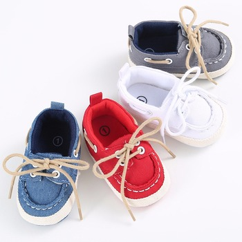Infants Baby Boys Girls Soft Soled Crib Shoes Laces Up Canvas Sneaker First Walkers 0-12Month