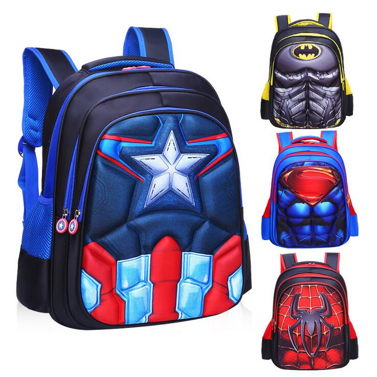Children's Backpack Boys Captain America School Bags For Boys Girls Children Primary Students Superhero Backpacks 4 Styles