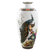 Jingdezhen Antique Peacock Vase Chinese Vases With Squirrel Crane Pattern Home Decoration Furnishing Articles