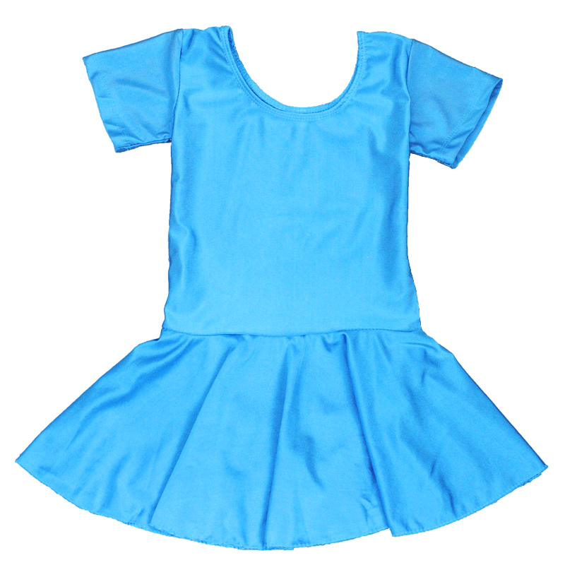 Girls Children Summer Shiny Spandex Short Sleeve Dance Dress Kids Gymnastics Ballet Skirted Leotard in Ballet from Novelty Special Use