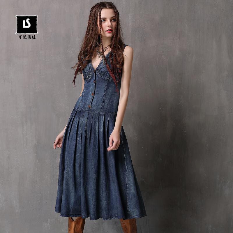 Women Dress 2018 Keer Boho Cotton Denning Draped Dresses V-Neck Sleeveless Sexy Vestidos A82079 Vintage Denim Vestido Feminina