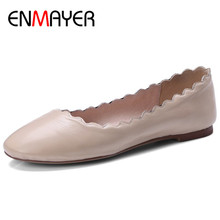 ENMAYER Round Toe Shallow Genuine Leather Shoes Loafers Flats Dance Shoes Large Size 34-44 Black Apricot Red Casual Shoes Flats chinese rhinestone foldable spring autumn crystal large size china genuine leather flats peach roll up famous brand shoes 10