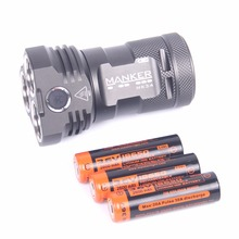 Manker mk34 led linterna 8000 lúmenes 12x cree xpg3/6500lm 12x nichia 219b/219c led + 3x de alto consumo 2600 mah 18650 baterías