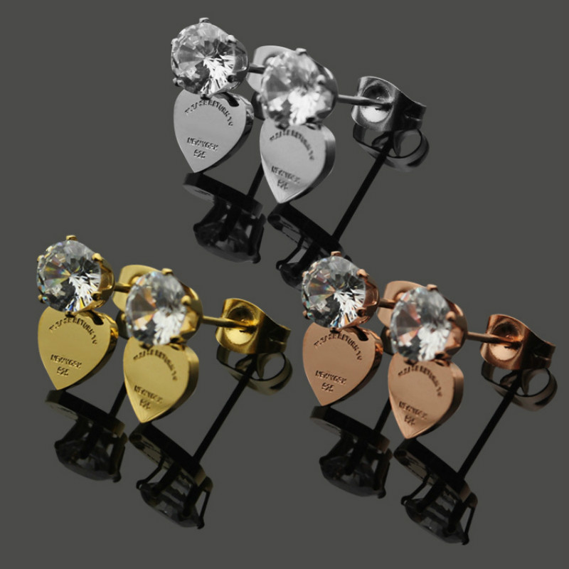 Rose Gold Color Heart Stud Earrings for Women with Big Clear Cubic Zircon Silver Earrings Luxury Brand Jewelry