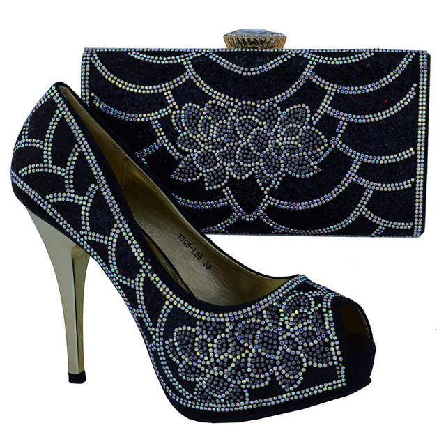 1308-L68 African Women High Heel Shoes And Clutch Bags Fashion Rhinestones  Italian Leather Shoes And Bag Matching Set Size 38-42 5db90192e815