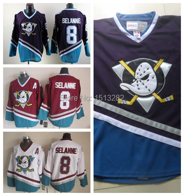 Teemu Selanne Jersey Cheap Anaheim Ducks Jersey Selanne Mighty Ducks CCM  Vintage Throwback  8 Authentic Hockey Jerseys Stitched aad05bc7e