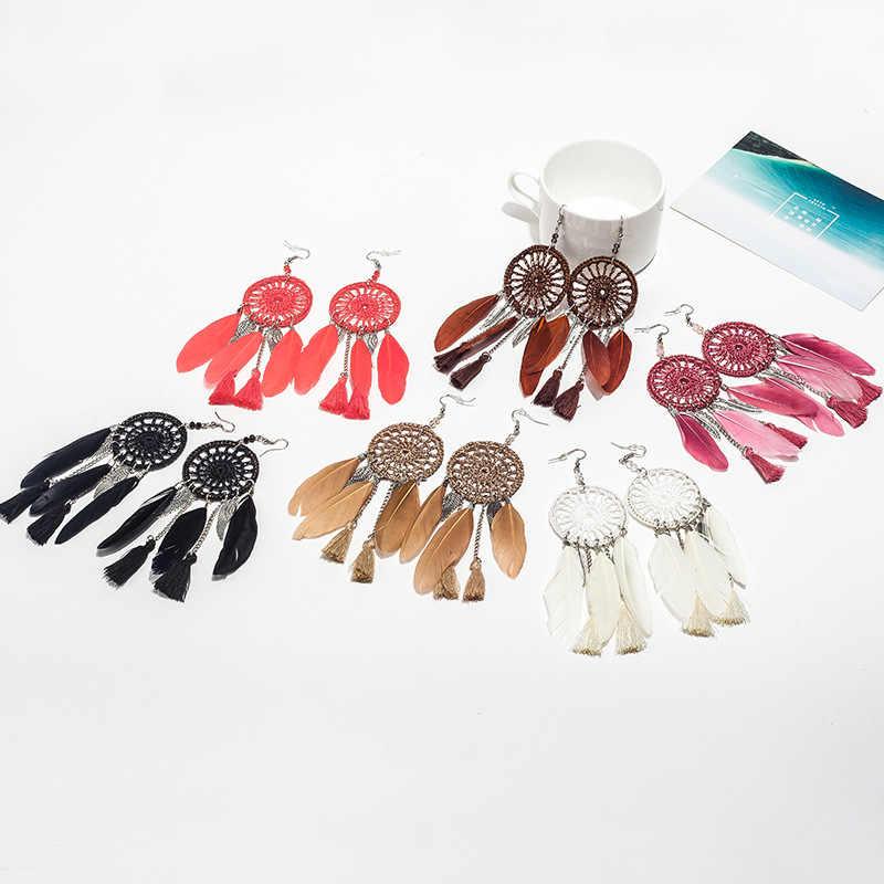 Dream Catcher Hollow out Vintage Leaf Feather Dangle Earrings Phụ Nữ Bohemia Phong Cách Bông Tai Phụ Nữ của Dân Tộc Ấn Độ Đồ Trang Sức
