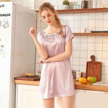 Wasteheart Women Fashion Lavender Blue Female Sexy Lace Mini Nightdress Faux Silk Nightwear Sleepshirts Nightgown Embroidery