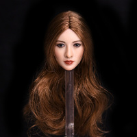 1/6 Asian Star Head Sculpt Blonde Hair Similiar to Jingtian Headplay fit Female Phicen Doll Body Figurine