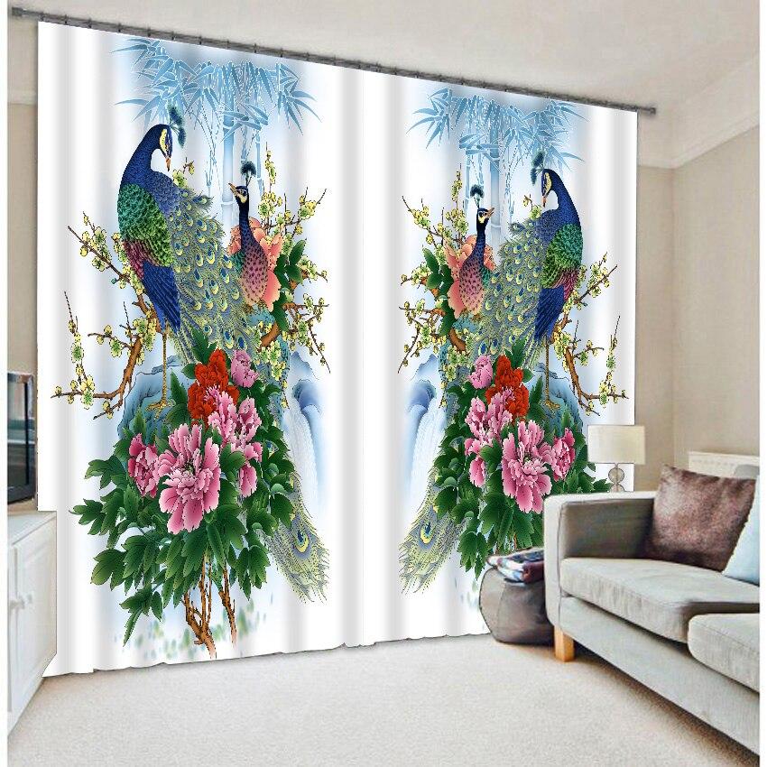 Tende foto camera da letto personalizzato su misura stampa del pavone
