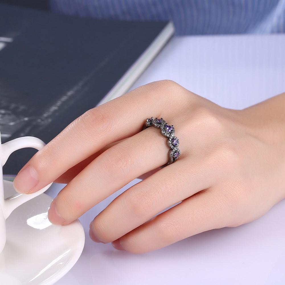 Exquisite Purple Cubic Zirconia Infinity Eight Letter Ring Design ...