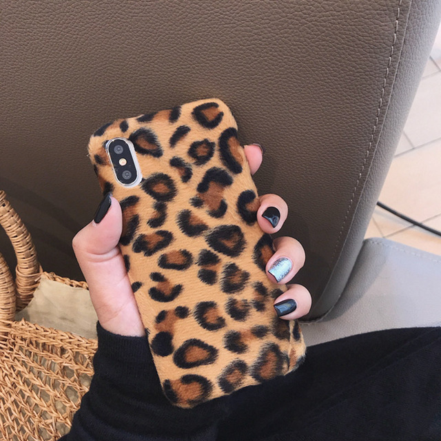 Leopard Wool iPhone Case 2019 - Luxury Warm Fuzzy Back Cover Soft Cases 2