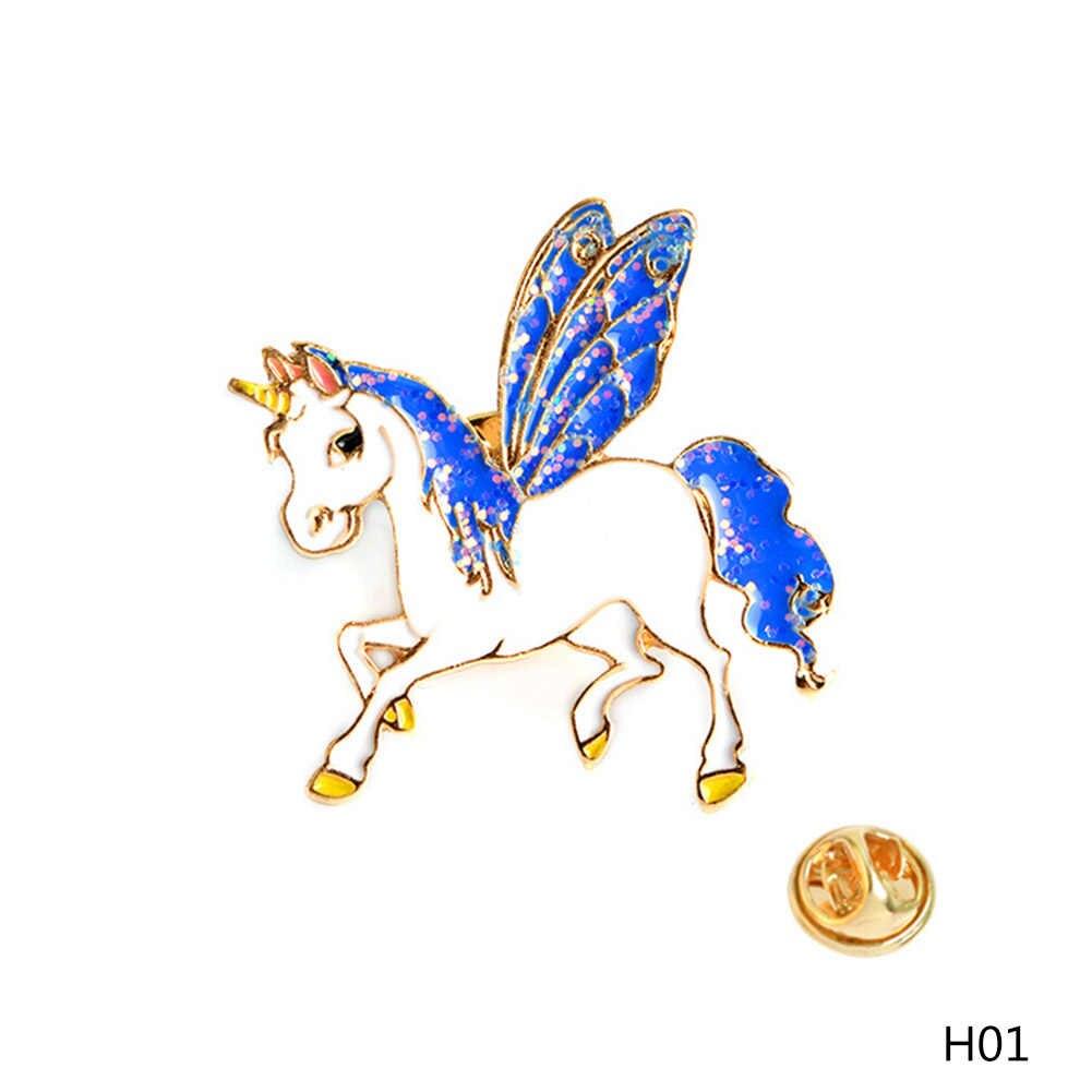 1PCs Kawaii ปีกม้ากวาง Sika Deer เข็มกลัดเคลือบ Pins หัวเข็มขัดกระเป๋าเป้สะพายหลัง Pins Badge การ์ตูนสัตว์เครื่องประดับของขวัญสำหรับเด็ก