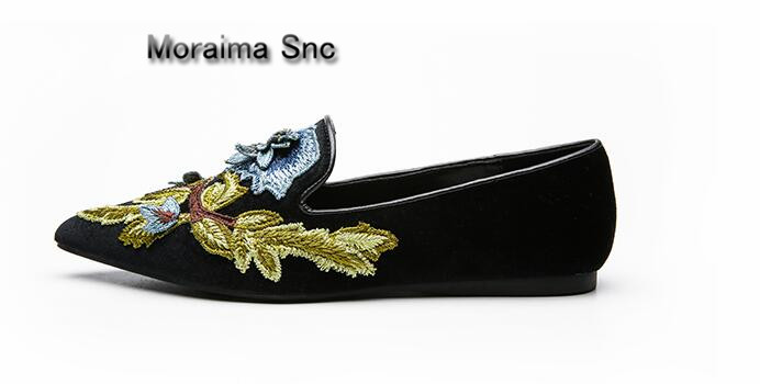 Moraima Snc woman loafers shoes 2018 embroider casual flats shoes women shallow pointed toe chaussures femme mary jane shoes