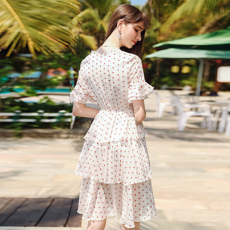 Wasteheart Summer White Women Draped Long Dresses Holiday Sexy Plus Size Sundress Dresses Chiffon Dots Sweet Beach Style in Dresses from Women 39 s Clothing