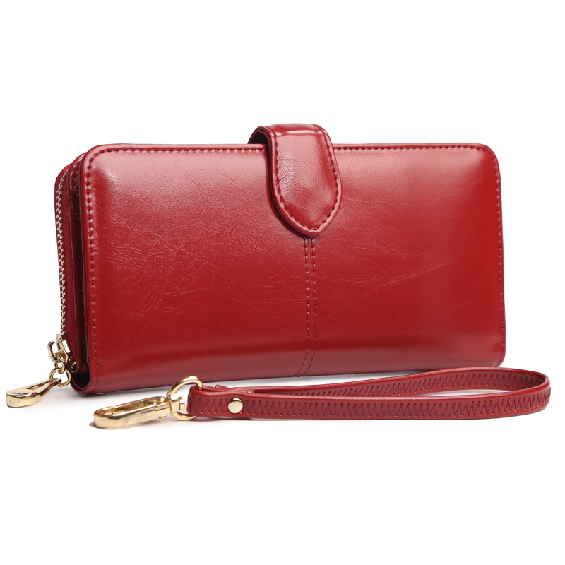 2017 Luxury Fashion Women Multifunction Clutch Wallet Korean Oil Wax Leather Large Purse Card Holder Female Zipper Phone Handbag allen roth brinkley handsome oil rubbed bronze metal toothbrush holder