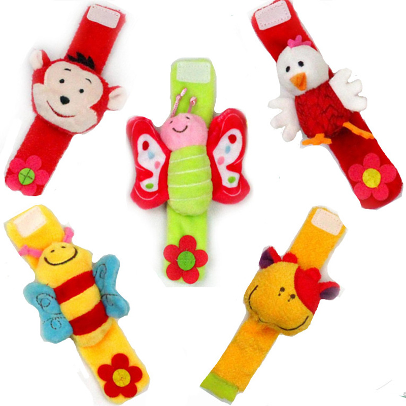 Soft Animal Infant Baby Rattles Toys Children Infant Baby Plush Wrist Rattles Baby Toy Hand Wrist Strap
