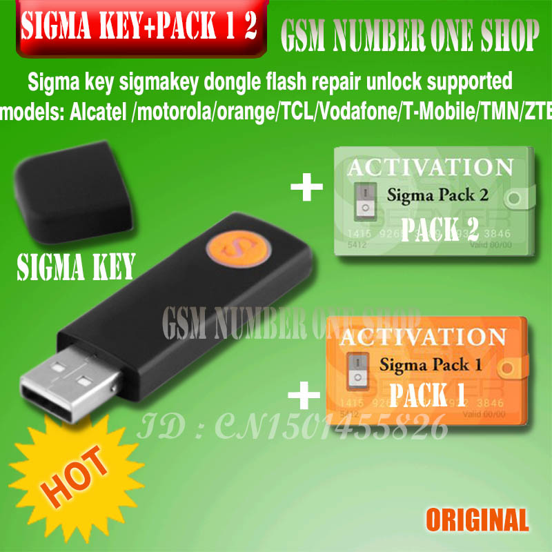 100% Original Sigma Key With Pack1 2 Activated Full Sigmakey Dongle For  Alcatel, MTK, Huawei Flash
