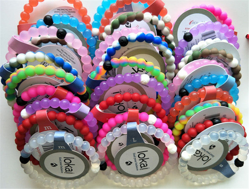 58 Colors Silicone Lokai Bracelet DHL Free 1000PCS Fashion Bracelets 4 Sizes Pink,Green,Clear Black Beads balance Bracelets