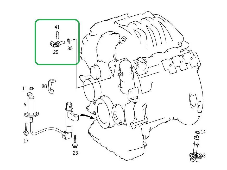 mercedes c240 coolant temperature sensor diagram