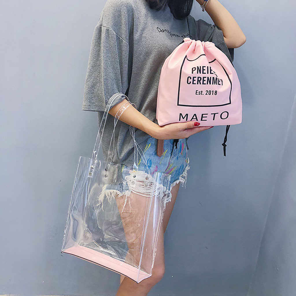 Bag Women Fashion Transparent Shoulder Bag Bundle Pocket Handbag Beach Bag Sac A Main Femme #Zer