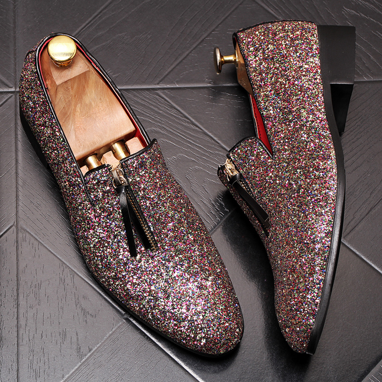 luxury Brand Classic Man Pointed Toe Dress Shoes Mens Sequined Black Silver Wedding Moccasins Flats Slipe On Shoes 3