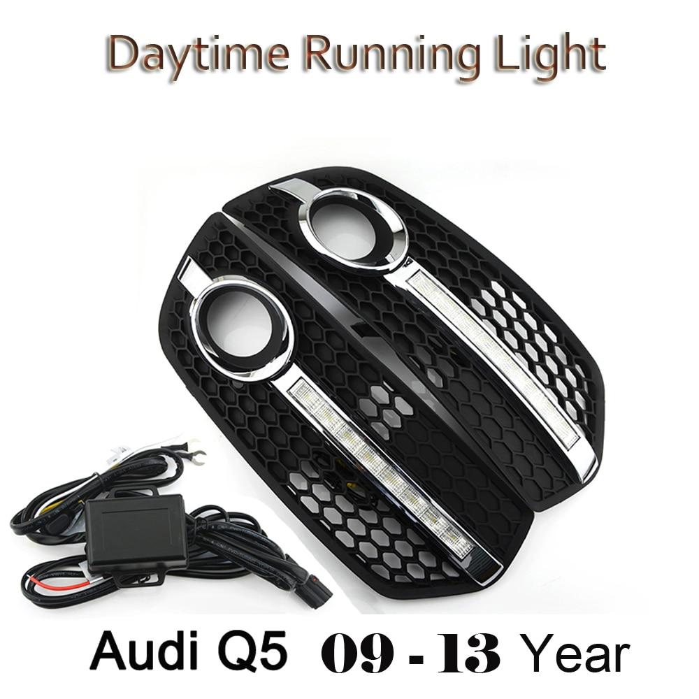 ECAHAYAKU style de voiture DRL ABS pare-chocs avant feux de jour feux de brouillard couvre les masques de lampe adaptés pour Audi Q5 2009 2010 2011 2012