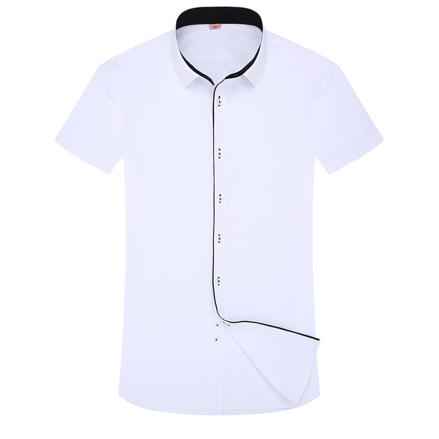 DAVYDAISY New Summer Men Shirt Short Sleeved Fashion Solid Male Shirts Brand Clothing Formal Business White Shirt Man DS187 3