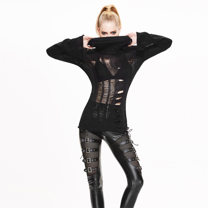 Devil Fashion Punk Women's Sweaters BlacK Hollow Out Sexy Pullovers Turtleneck High Elastic Knitted Street Sweaters