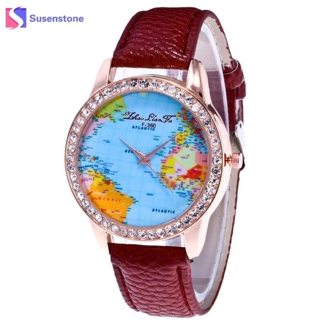 Women fashion world map quartz leather analog wrist watches women fashion world map quartz leather analog wrist watches rhinestone ladies casual watch clock reloj mujer sciox Choice Image