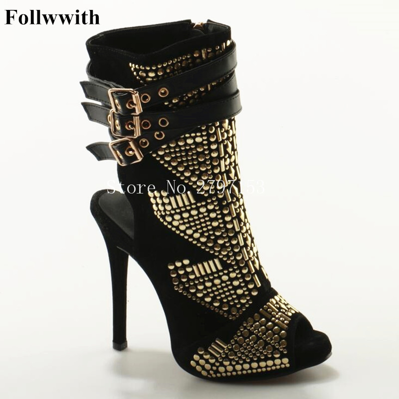 2018 Follwwith Luxury Shiny Gold Crystal Shape Slingback Peep Toe Women Summer Boots Sandals High Heel Sexy Party Wedding Shoes women sandals shiny leather peep toe