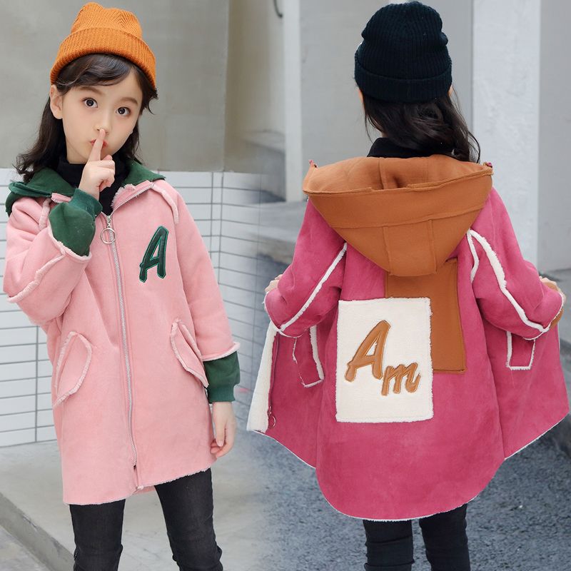 INS hot girls Woolen coat 3-11 years old kids velvet thickening warm   trench   chidlren's overcoat autumn and winter hooded