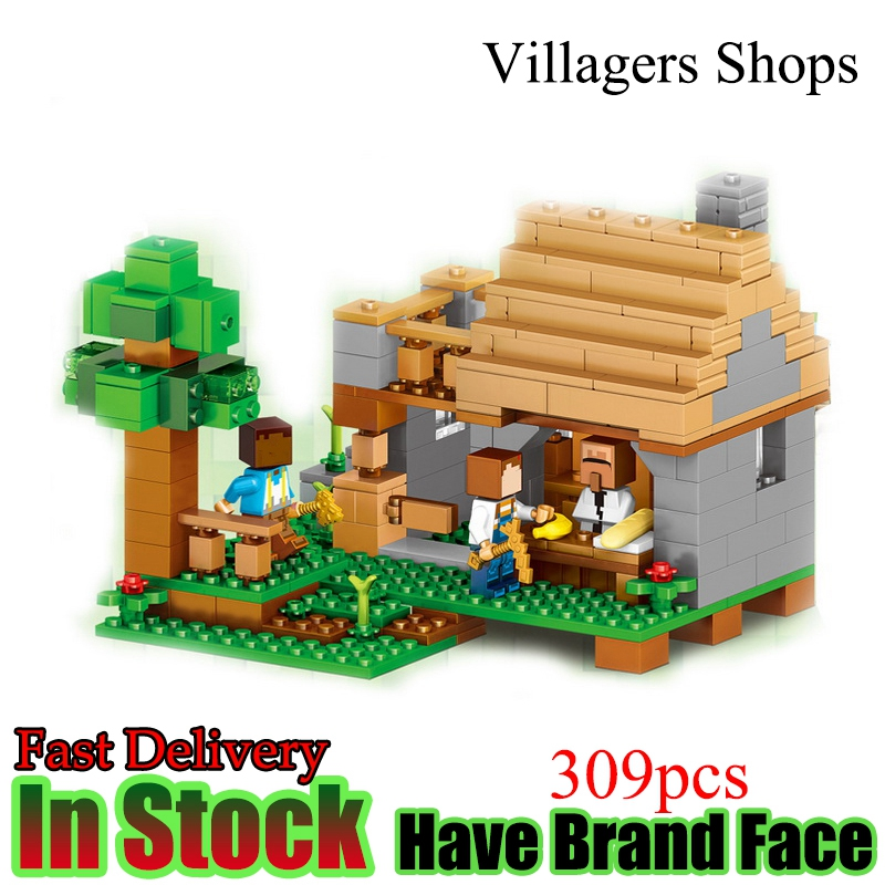 LELE Minecraft 309pcs The Village Shops My World Model kits figures Building Blocks Bricks fun Toy For Children gift Lepin