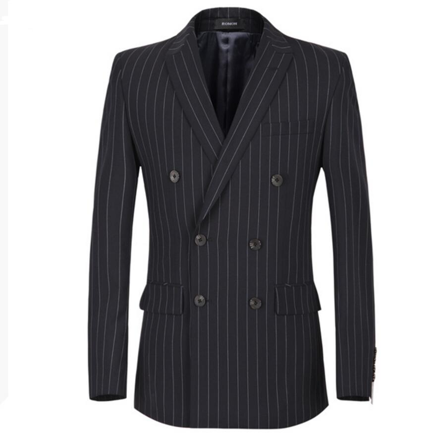 Suit suit jacket leisure jacket handsome man double breasted coat stripe friends party custom make lapels