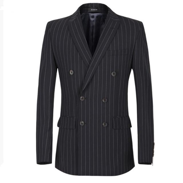 Suit suit jacket leisure jacket handsome man double-breasted coat stripe friends party custom-make lapels men blazer