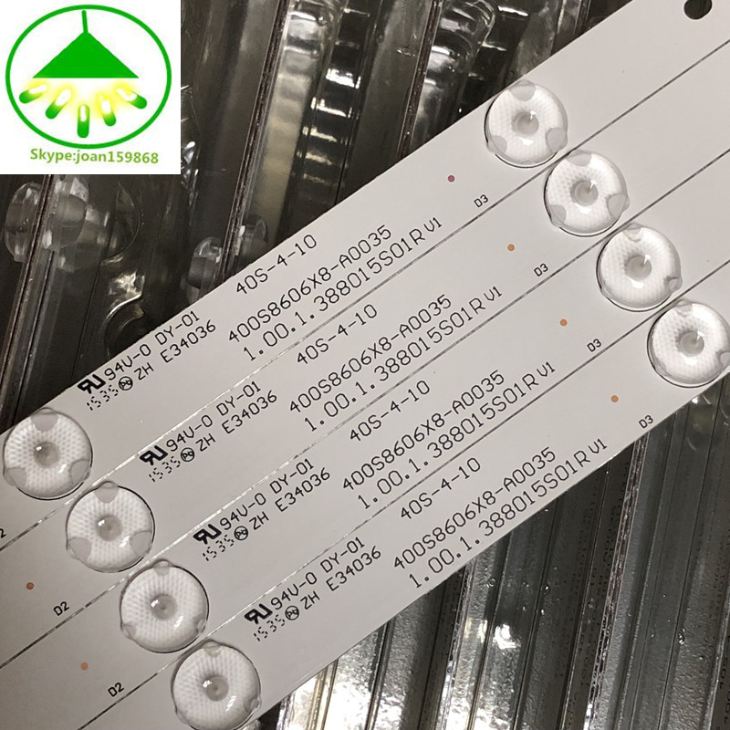 12 PCS/lot 100%NEW good quality LCD TV backlight bar FOR 400S8606X8-A0035 E34036 40S-4-10 1.00.1.388015S01R V1 94V-O DY-01