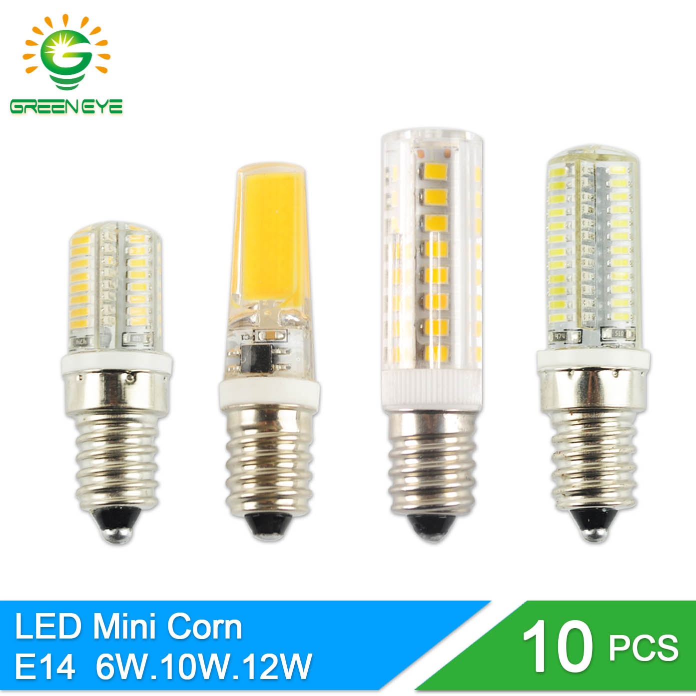 greeneye 10pcs mini led bulb e14 lamp 220v 6w 10w 12w cob light replace halogen spotlight. Black Bedroom Furniture Sets. Home Design Ideas