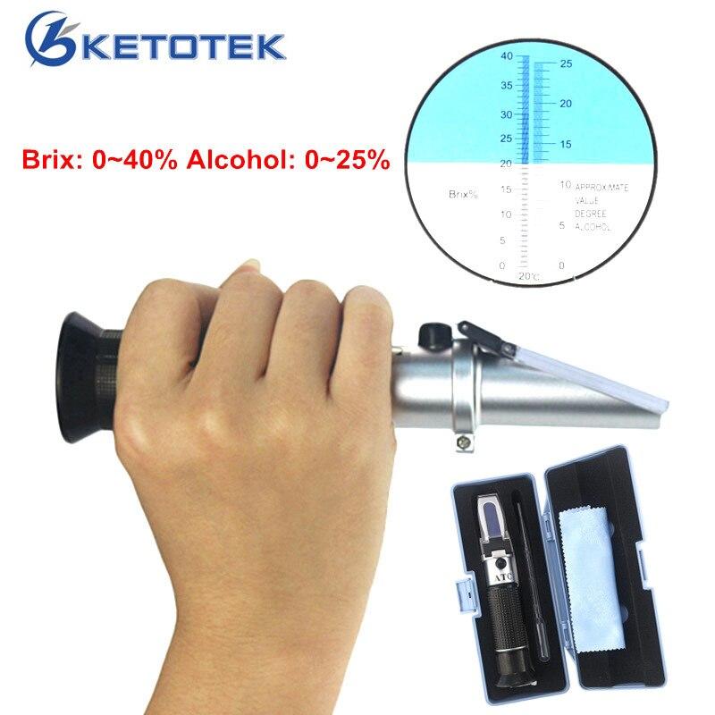 Vin Réfractomètre D'alcool 0-25% Esprits Testeur Alcoomètre Brix 0-40% Sucre Mètre Double-échelle Conception À mesure
