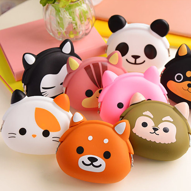 Cute Candy Color Wallet Silicone Small Pouch Cartoon Owl Cat Bear Coin Purse for Girl Children Key Rubber Mini Animal Purse
