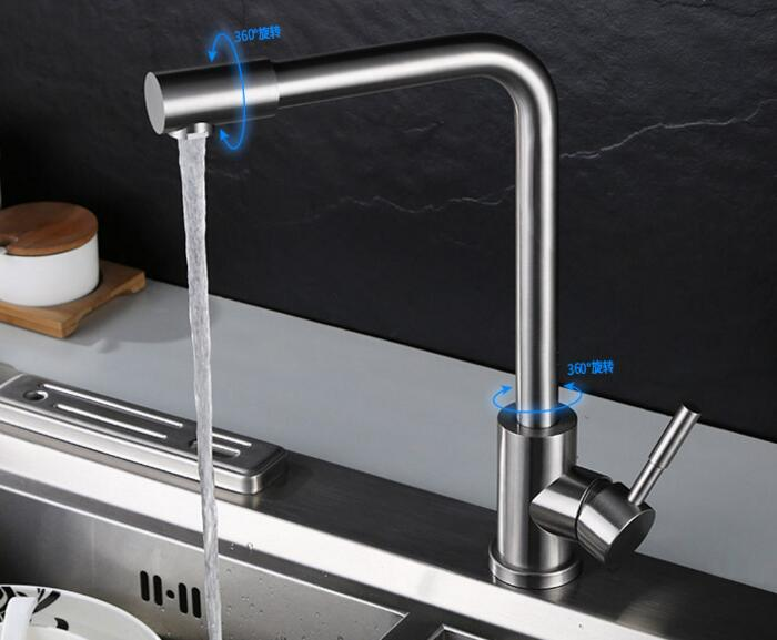 Free shipping cold or cold and hot water Kitchen Faucet Brushed 304 Stainless Steel taps stainless steel mixer 312 цена