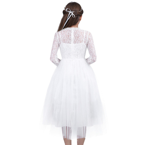Image 5 - フラワーガールのドレス長袖かわいい白レース結婚式のため子供ウエディングドレスの王女最初聖体パーティードレス