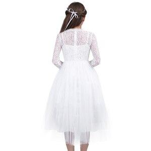 Image 5 - Dziewczęca sukienka w kwiaty z długimi rękawami śliczna biała koronka na wesela dzieci suknia wieczorowa dziewczyny księżniczka pierwsza komunia sukienek