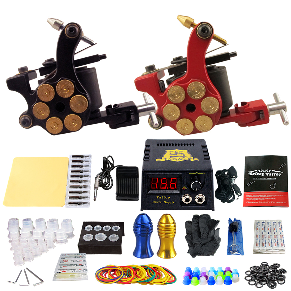 Solong Tattoo Pro Tattoo Kit 2 Rorary Tattoo Machine Gun Power Supply 1 Practice Skin Dual-sided Re-usable One Set TK202-18 miracool neck bandana re usable 100 s of times keeps you cool red 2 pack