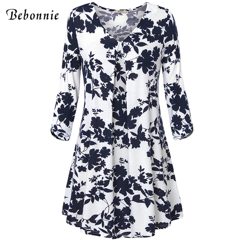 Bebonnie 3/4 Sleeve Floral Print Knitted Autumn Dress Women A Line Bow Tie Ruched Robe Femme 2018 Casual Loose Mini Dresses fashionable 3 4 sleeve floral print dress for women