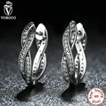 Authentic 925 Sterling Silver Twist Of Fate Earrings, Clear CZ Earrings Compatible with VRC  Jewelry for Women S465
