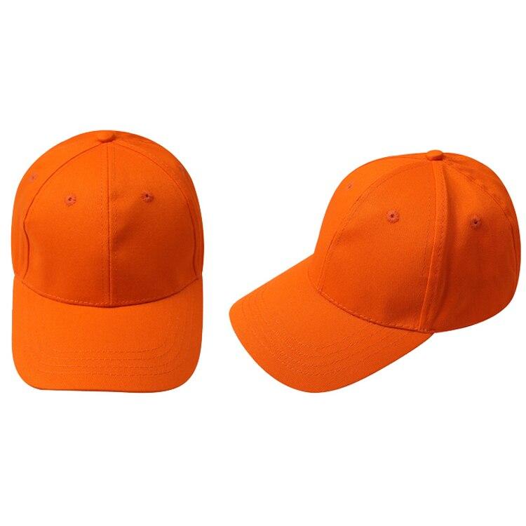Kids Plain Baseball Cap Girls Boys Junior Childrens Hat Summer-Orange