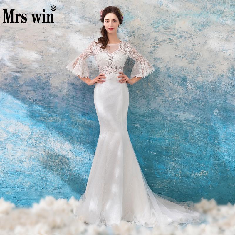 Aliexpress Com Buy Elegant Flare Sleeve Wedding Dress